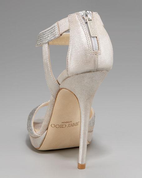 Shimmer Suede Ankle-Wrap Sandal
