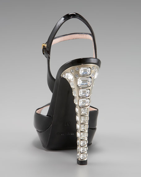 Patent High-Heel Peep-Toe Pump with Jewel Heel
