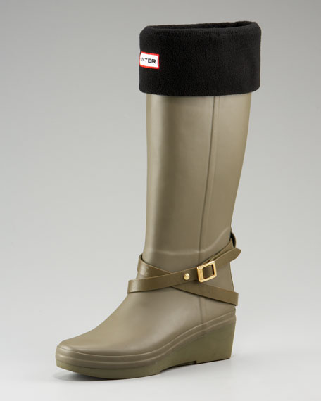 Wedge Rain Boot With Rubber Belt