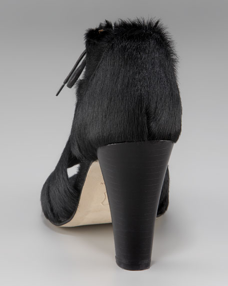 Calf Hair Lace-Up Sandal