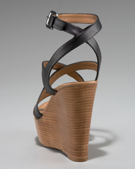 Isabella Strappy Stacked Wedge Sandal