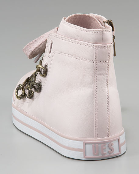Leather-Chain Lace-Up Sneaker