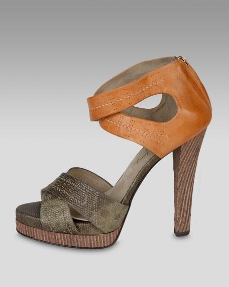 Lizard-Embossed Crisscross Sandal
