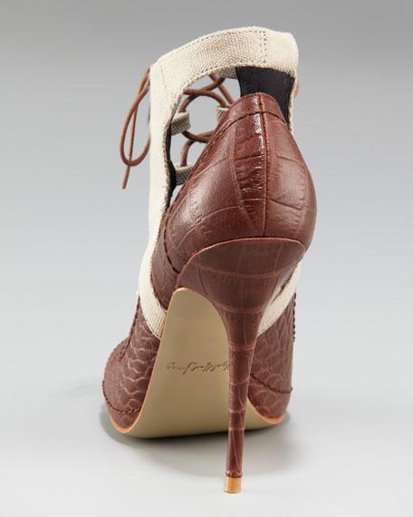 Crocodile-Embossed Canvas Lace-Up Heel