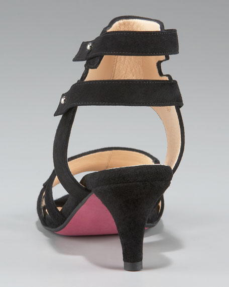 Suede Ankle-Cuff Low-Heel Sandal