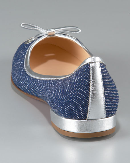 Bow Denim Ballerina Flat
