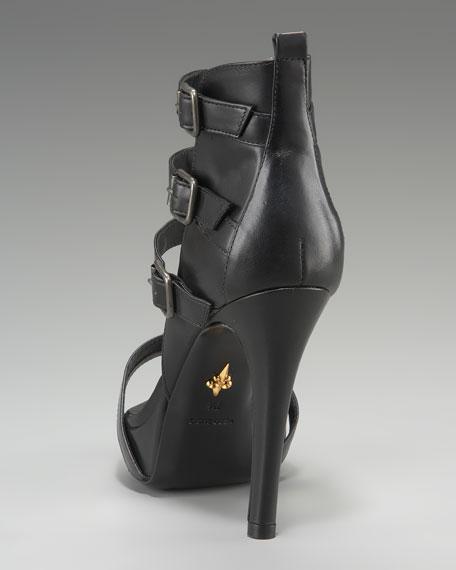 Bria Buckle-Strap Sandal, Black