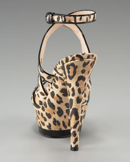 Leopard Print Ankle-Wrap Sandal