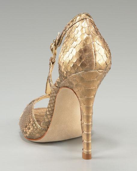 V-Strap Metallic Python Sandal