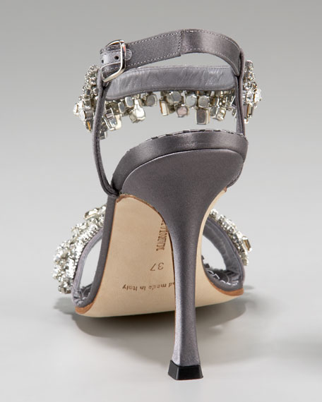 Bejeweled Ankle-Wrap Sandal