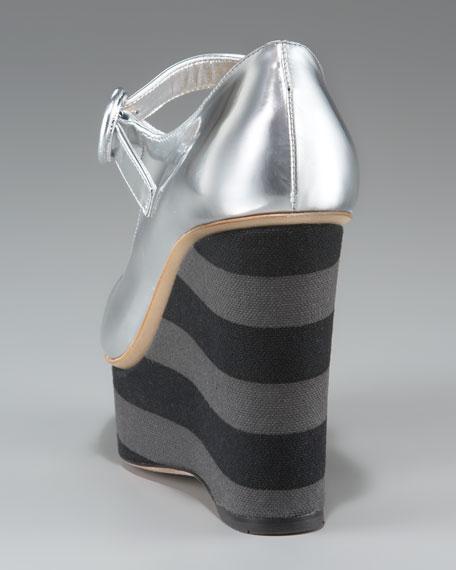 Metallic Mary Jane with Striped Platform