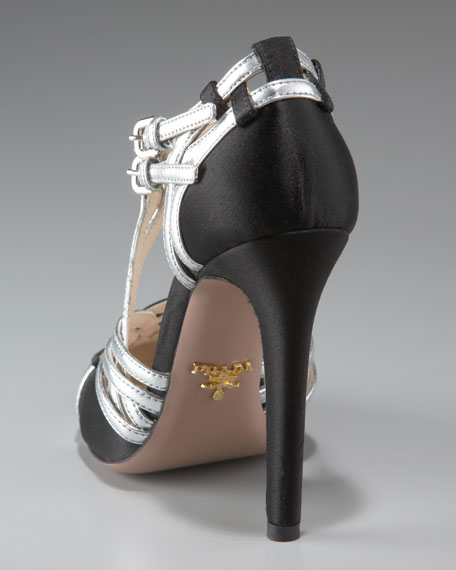 Woven Satin & Leather Pump