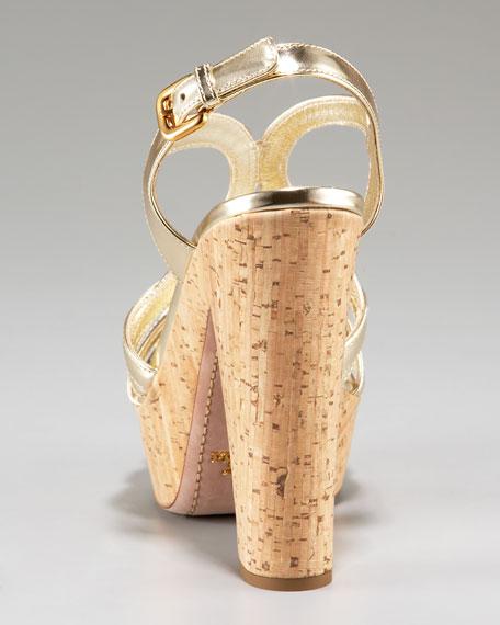 Metallic Cork-Platform Sandal
