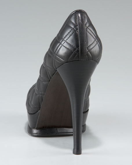 Quilted Leather Platform Pump