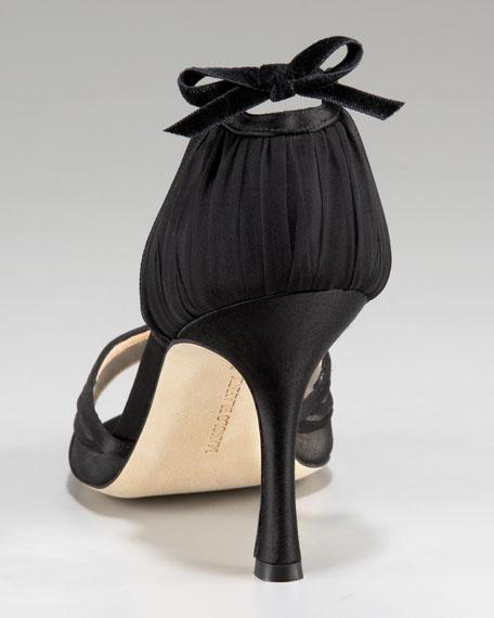 Satin & Chiffon d'Orsay, Black