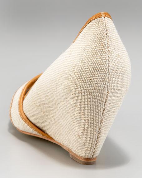 Fabric Peep-Toe Wedge