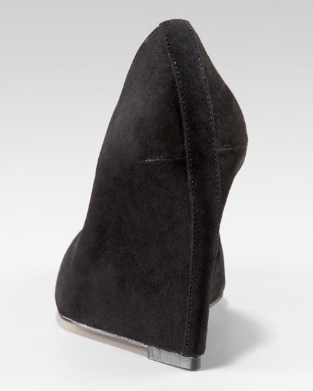 Suede Pointed-Toe Wedge