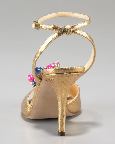 ceecee snake-print bauble sandal, old gold