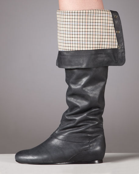 Plaid-Lined Cuff Boot