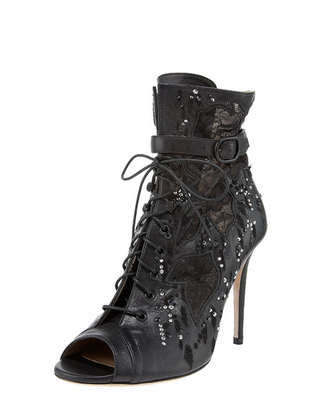 Studded Open-Toe Lace-Up Bootie