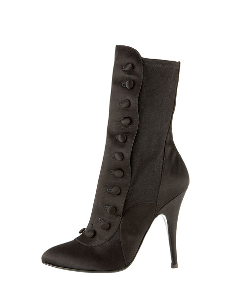 Satin Button-Up Ankle Boot