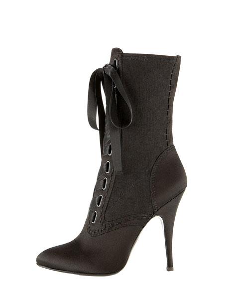 Satin Lace-Up Boot