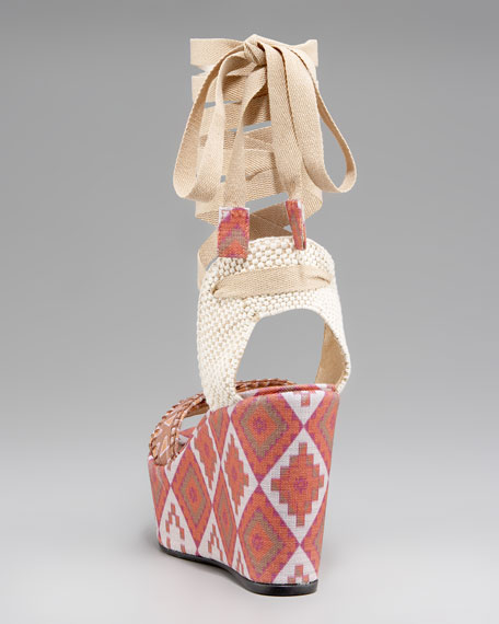 Patterned Linen Lace-Up Wedge, Sienna