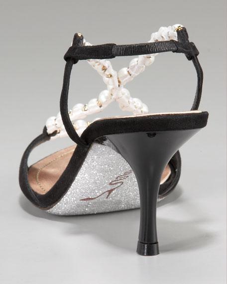 Bead-Strap Mid-Heel Sandal
