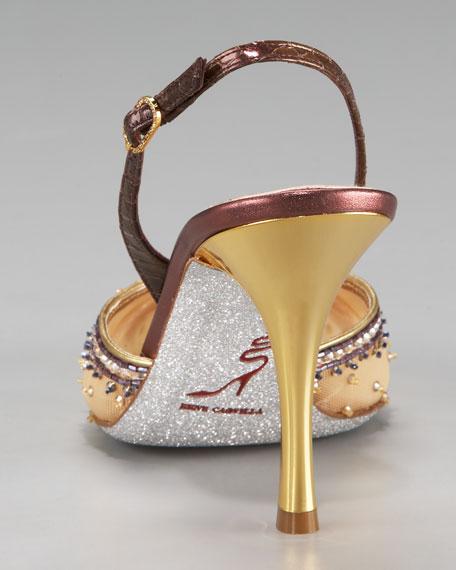 Jeweled Slingback Pump, Mid-Heel