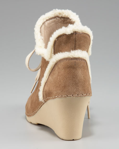 Shearling-Trim Wedge Boot