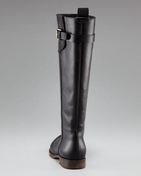 Buckle-Flap Flat Knee Boot