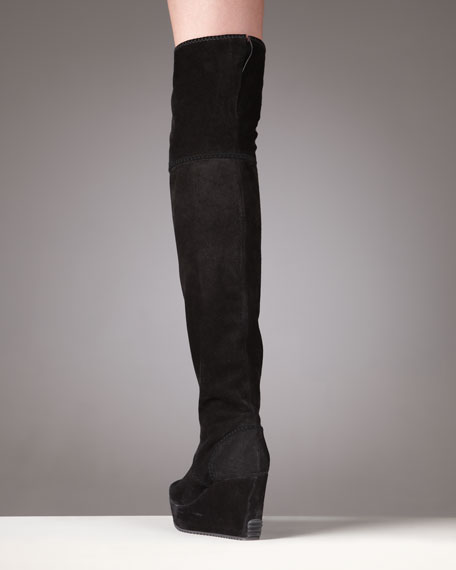 Suede Wedge Knee Boot
