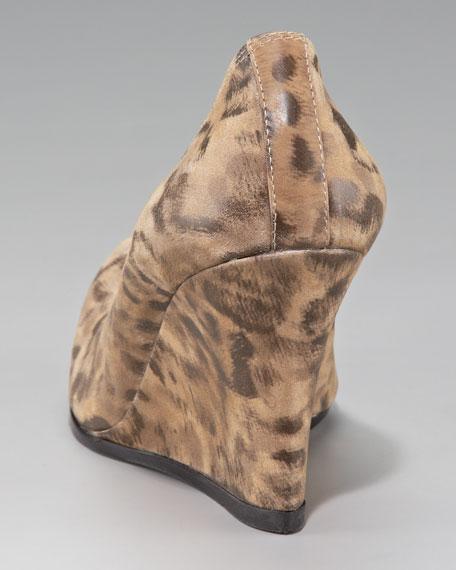 Leopard-Print Ballerina Wedge