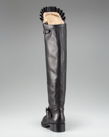 Ruffle-Top Tall Motorcycle Boot