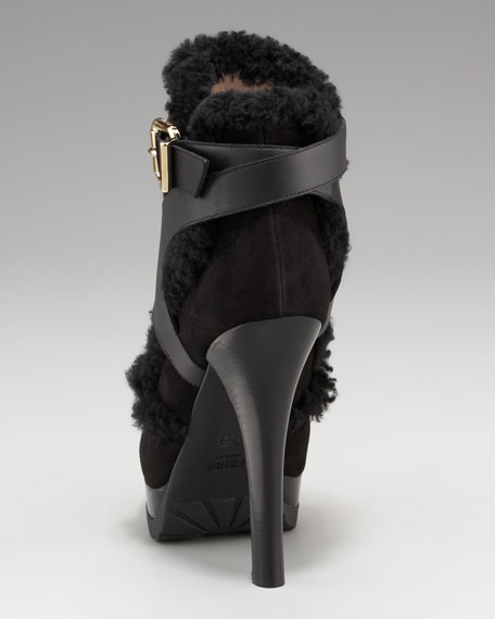 Suede-Shearling Strappy Bootie