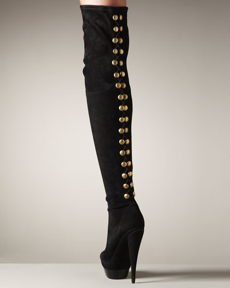 Studded-Back Platform Over-the-Knee Boot