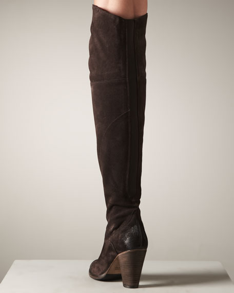 Elastic-Panel Suede Boot