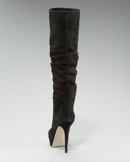 Stretch-Suede Knee Boot