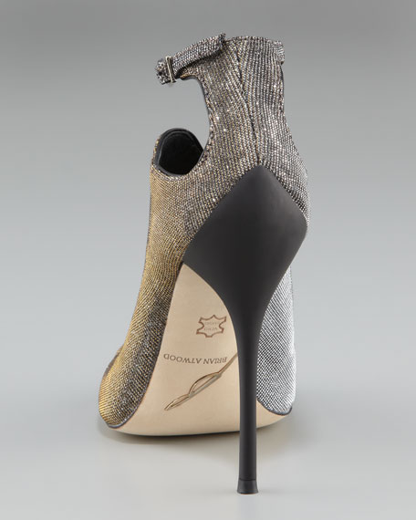 Sparkly Ankle strap Peep-Toe Bootie