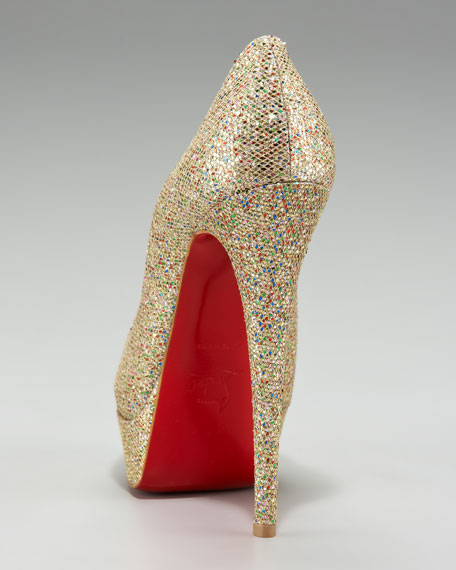 Lady Glittered Peep-Toe Pump