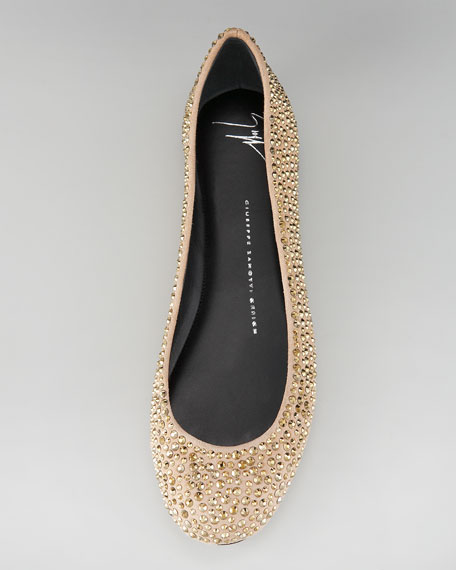 Crystal-Covered Suede Ballerina Flat