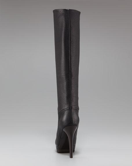 Platform Leather Knee Boot
