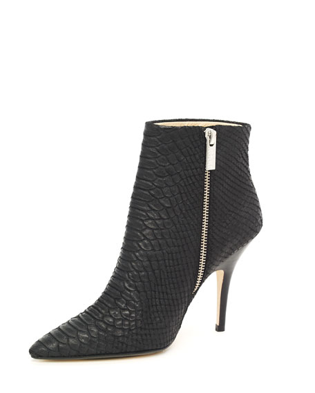 Python-Embossed Ankle Boot, Black