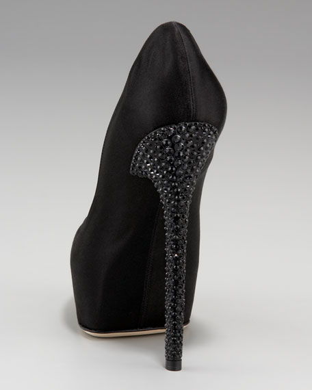 Esam Bejeweled Heel Satin Pump