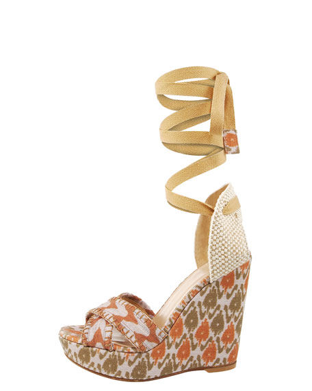 Printed Linen Lace-Up Wedge, Natural