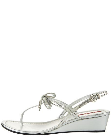 Metallic Bow Wedge Thong Sandal
