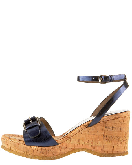Metallic Cork Wedge Sandal