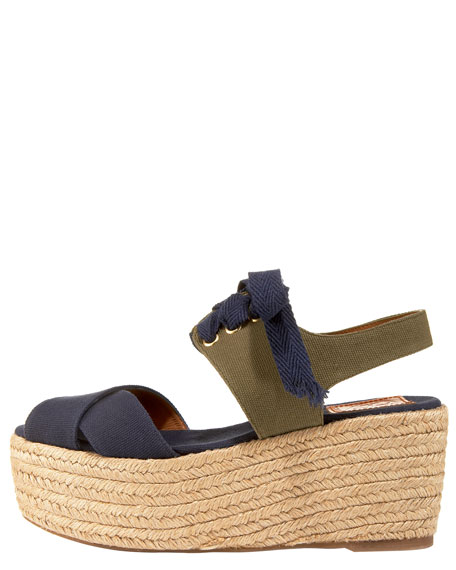 Contrast Lace-Up Espadrille Wedge
