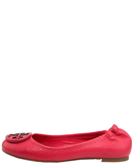 Reva Tumbled-Leather Flat, Island Pink