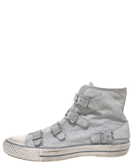 Buckled Leather Sneaker, Perla